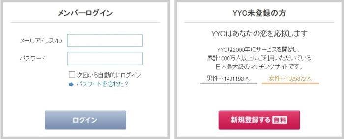 YYC(ワイワイシー)のログイン方法
