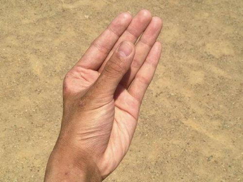 ペニスを握ろうとしている手